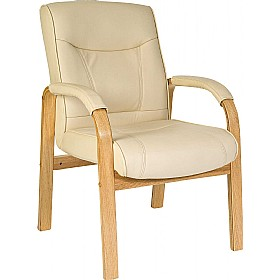 Knightsbridge Cream Leather Faced Visitor Chair £162 - Office Chairs