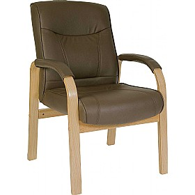 Richmond Brown Leather Faced Visitor Chair £156 - Office Chairs
