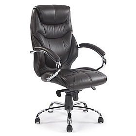 Geneva Black Leather Faced Manager Chair £258 - Office Chairs
