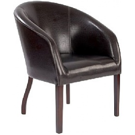 Devon Chocolate Leather Look Armchair £187 - Reception Furniture
