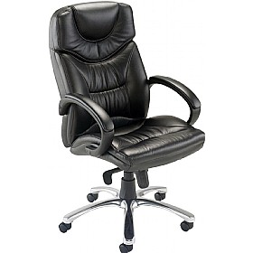 Nevada Leather Faced Manager Chair Black £256 - Office Chairs