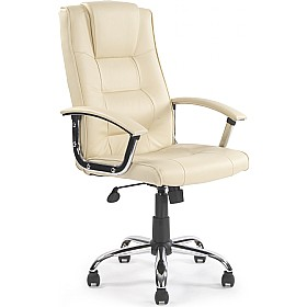Loughborough Leather Faced Manager Cream Leather Office