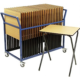 Folding Exam Desk Trolley - 25 Desks £132 - Education Furniture