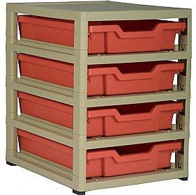 GratStack Single Column Unit With 4 Shallow Trays £0 - Education Furniture