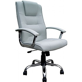 Loughborough Leather Faced Manager Silver £121 - Office Chairs