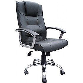 Loughborough Leather Faced Manager Black £79 - Office Chairs