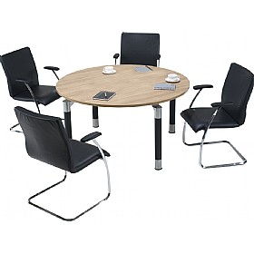 Trilogy Round Solo Boardroom Tables £579 - Meeting Room Furniture