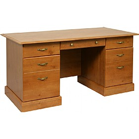 Antique Pine Effect Executive Desk £259 - Home Office Furniture