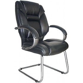 Lichfield Enviro Leather Chrome Cantilever Chair £164 - Office Chairs