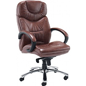 Nevada Leather Faced Manager Chair Brown £256 - Office Chairs