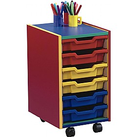 Multi Coloured 6 Tray Shallow Mobile Storage Unit £93 - Education Furniture