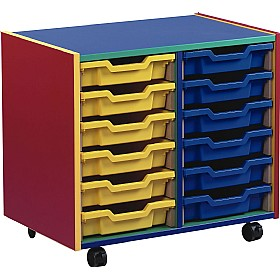 Multi Coloured 12 Tray Shallow Mobile Storage Unit £0 - Education Furniture
