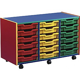 Multi Coloured 18 Tray Shallow Mobile Storage Unit £167 - Education Furniture