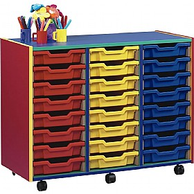 Multi Coloured 24 Tray Shallow Mobile Storage Unit £0 - Education Furniture