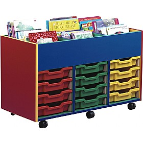 Multi Coloured 12 Tray Shallow Mobile Kinderbox £0 - Education Furniture
