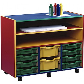 Multi Coloured 12 Tray Shallow Mobile Combination Unit £0 - Education Furniture