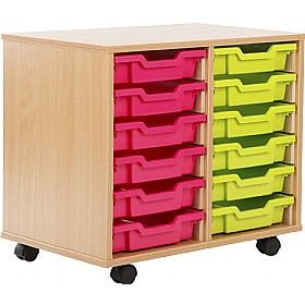 12 Tray Shallow Storage Brights £141 - Education Furniture