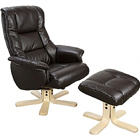 Illinois Leather Faced Recliner Black £283 - Office Chairs