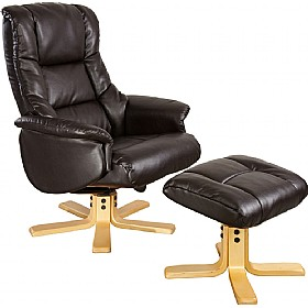 Illinois Leather Faced Recliner Dark Mocha £254 - Office Chairs