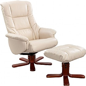 Illinois Leather Faced Recliner Cream £283 - Office Chairs
