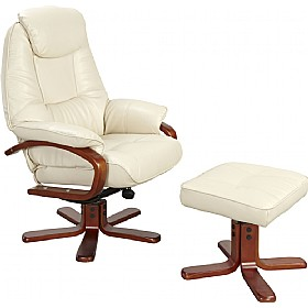 Georgia Leather Faced Recliner Cream £334 - Office Chairs