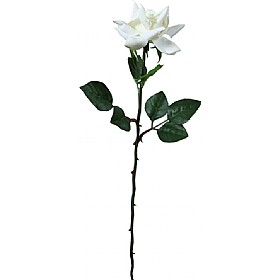 Single Stem Fully Open Rose - White £0 - Office Furnishings