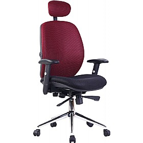 Pacific High Back Wine Mesh Chair £165 - Office Chairs