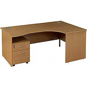 NEXT DAY Solar Ergonomic Panel End Desks With Mobile Pedestal £245 - Next Day Office Furniture