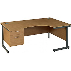 NEXT DAY Solar Ergonomic Cantilever Desks With Single Fixed Pedestal £264 - Next Day Office Furniture