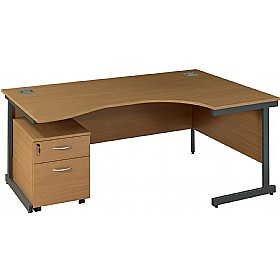 NEXT DAY Solar Ergonomic Cantilever Desks With Mobile Pedestal £266 - Next Day Office Furniture