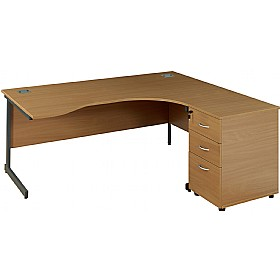 NEXT DAY Solar Ergonomic Cantilever Desks With Desk High Pedestal £298 - Next Day Office Furniture