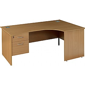 NEXT DAY Solar Ergonomic Panel End Desks With Single Fixed Pedestal £259 - Next Day Office Furniture