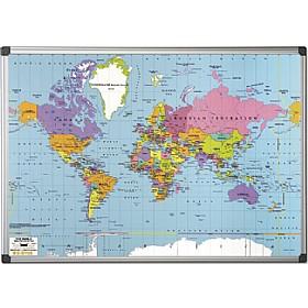 BiOffice World Map Whiteboard Maps