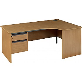NEXT DAY Nova Plus Ergonomic Panel End Desk With Fixed Pedestal £230 - Next Day Office Furniture