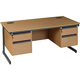 NEXT DAY Nova Plus Rectangular Cantilever Desk With Double Fixed Pedestals £238 - Next Day Office Furniture