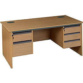 NEXT DAY Nova Plus Rectangular Panel End Desk With Double Fixed Pedestals £216 - Next Day Office Furniture
