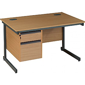 NEXT DAY Nova Plus Rectangular Cantilever Desk With Single Fixed Pedestal £168 - Next Day Office Furniture