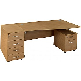 Solar Cantilever Wave Desks With Mobile and Desk High Pedestals £408 - Office Desks