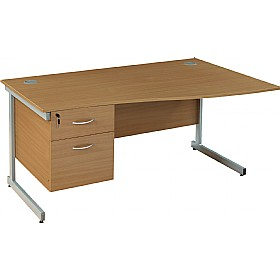 Solar Cantilever Wave Desks With Single Fixed Pedestal £213 - Office Desks