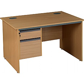 Nova Plus Rectangular Panel End Desk With Single Fixed Pedestal £135 - Office Desks