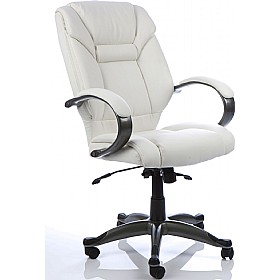 Lichfield White Enviro Leather Chair £164 - Office Chairs