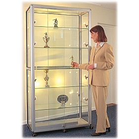Wide Mobile Glass Showcase With Sliding Doors £1172 - Display/Presentation