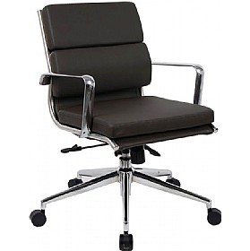 Sicily Medium Back Enviro Leather Faced Chair Black £245 - Office Chairs