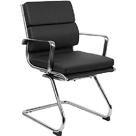sicily cantilever enviro leather faced chair black