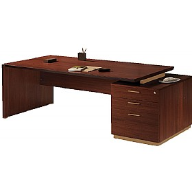 Andorra Real Wood Veneer Rectangular Desks With Pedestal £2068 - Office Desks