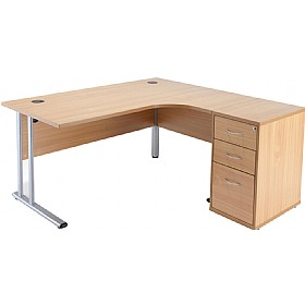 NEXT DAY Direct Ergonomic Desk With Desk High Pedestal £265 - Next Day Office Furniture