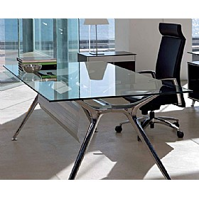 Sapphire Rectangular Glass Desks With Modesty Panel £1266 - Office Desks