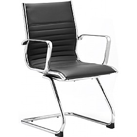 Premio Black Leather Faced Cantilever Chair £194 - Office Chairs