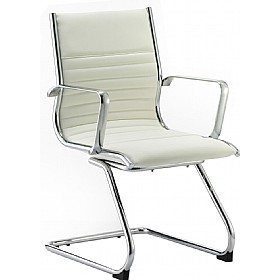 Premio Ivory Leather Faced Cantilever Chair £194 - Office Chairs