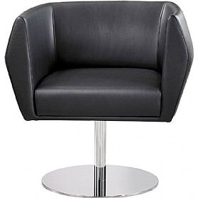 Sven HB1D Disc Base Leather Reception Chairs £687 - Reception Furniture